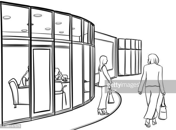 office with glass walls - human representation stock illustrations