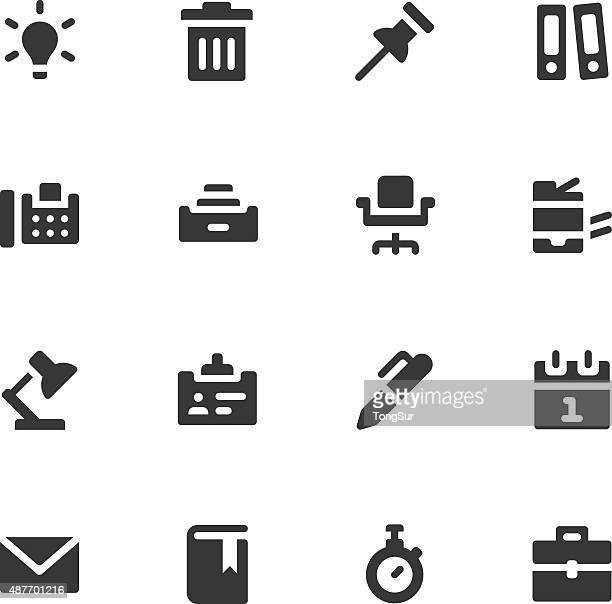 office work icons - bold - photocopier stock illustrations, clip art, cartoons, & icons
