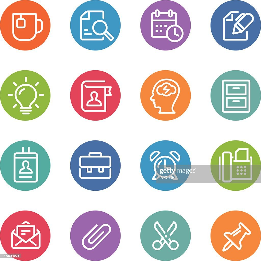 Office Work Icons - Circle Line Series : stock illustration