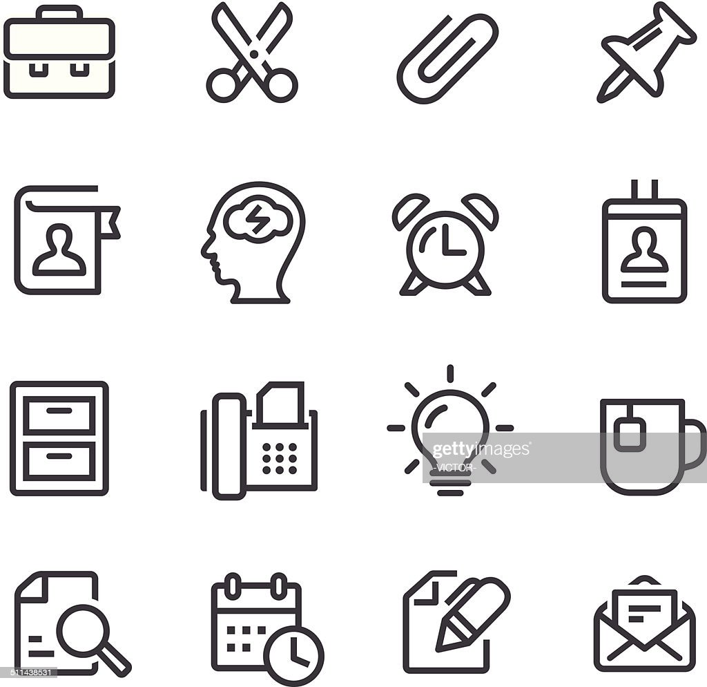 Office Work Icons - Line Series : stock illustration