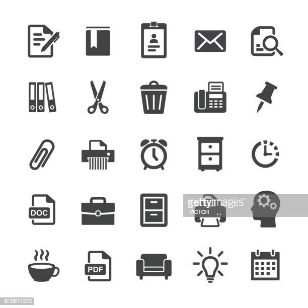 office work icons - smart series - thumbtack stock illustrations, clip art, cartoons, & icons