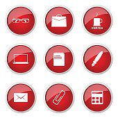 Office Work Red Vector Button Icon Design Set