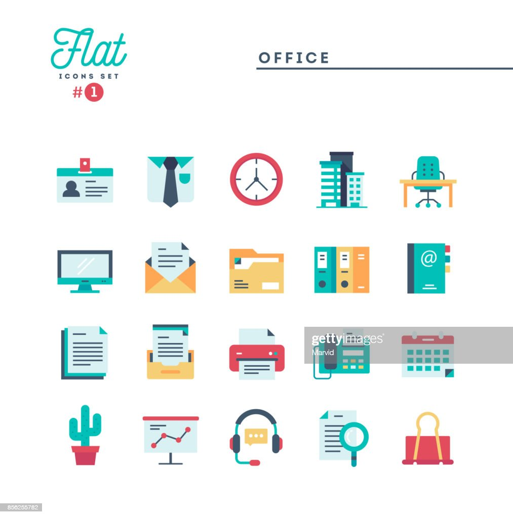 Office, work space and items, flat icons set