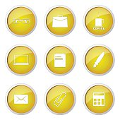 Office Work Yellow Vector Button Icon Design Set