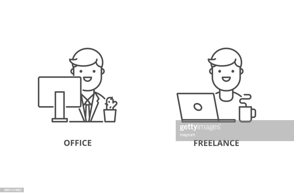 Office worker and freelancer vector icons