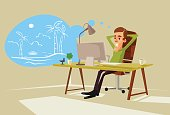 Office worker character dreaming about vacation. Vector flat cartoon illustration