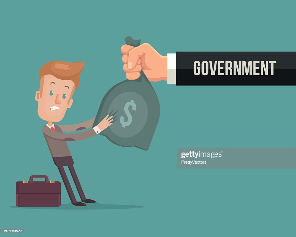 Office worker character give money government