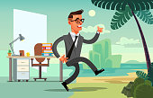 Office worker character run to vacation