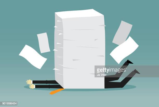 office worker has lot of works - paperwork stock illustrations