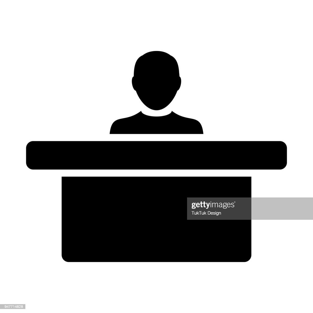 Office Worker Icon Vector Male Person on Help Desk for Business Service in Glyph Pictogram Symbol