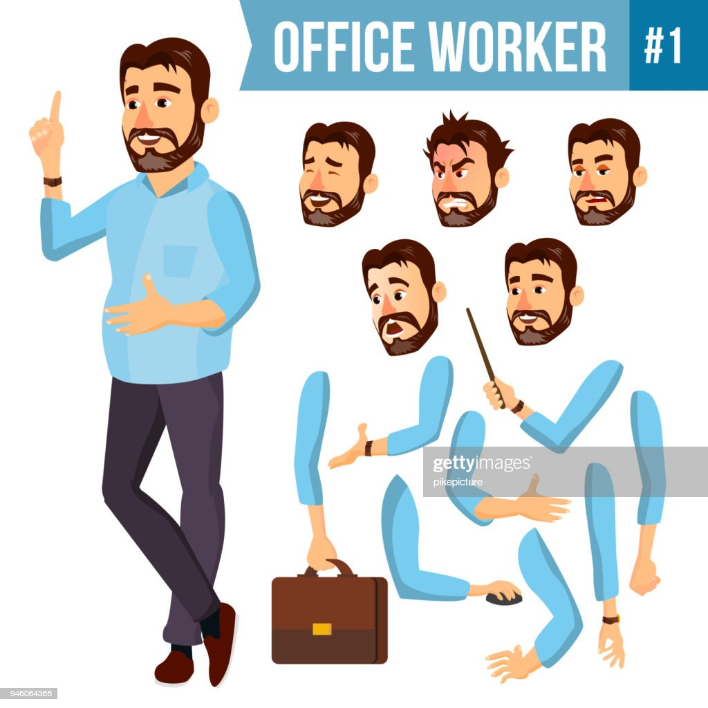 Office Worker Vector. Face Emotions, Various Gestures. Animation Creation Set. Corporate Businessman Male. Successful Officer, Clerk, Servant. Isolated Cartoon Illustration