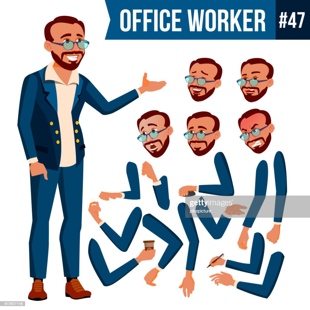 Office Worker Vector. Turkish. Turk. Face Emotions, Various Gestures. Animation Creation Set. Business Human. Smiling Manager, Servant, Workman, Officer. Flat Character Illustration