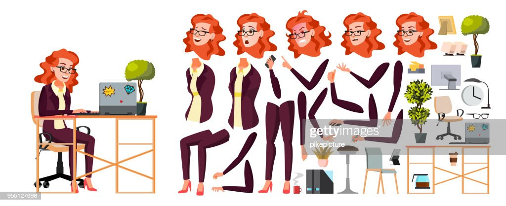 Office Worker Vector. Woman. Businessman Human. Lady Face Emotions, Various Gestures. Animation Creation Set. Isolated Flat Cartoon Character Illustration