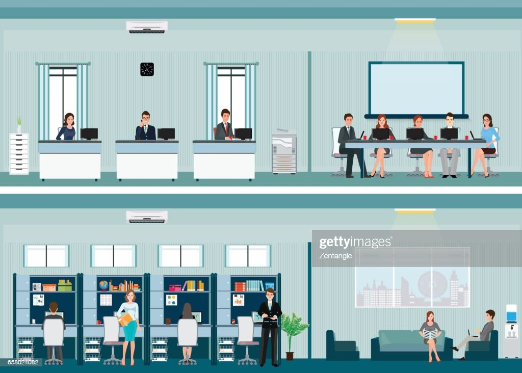 Office worker with office desk and Business meeting or teamwork.