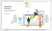 Office workers are studying the infographic, modern concept for web banners, websites