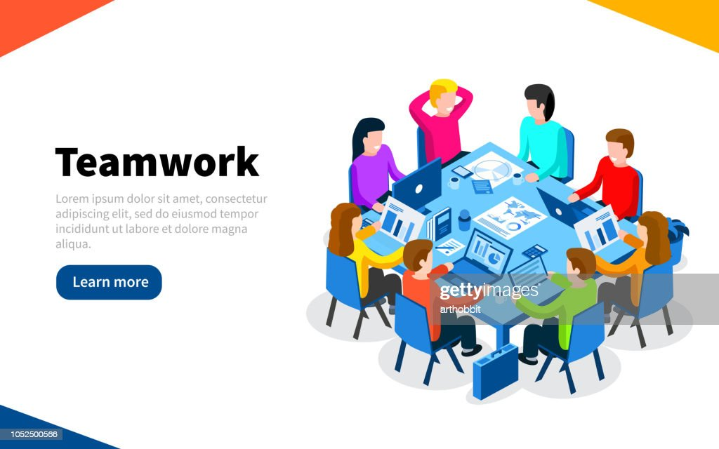 Office workers at work place concept. Coworking or brainstorm concept. Flat isometric vector illustration. Web Page template. Vector illustration