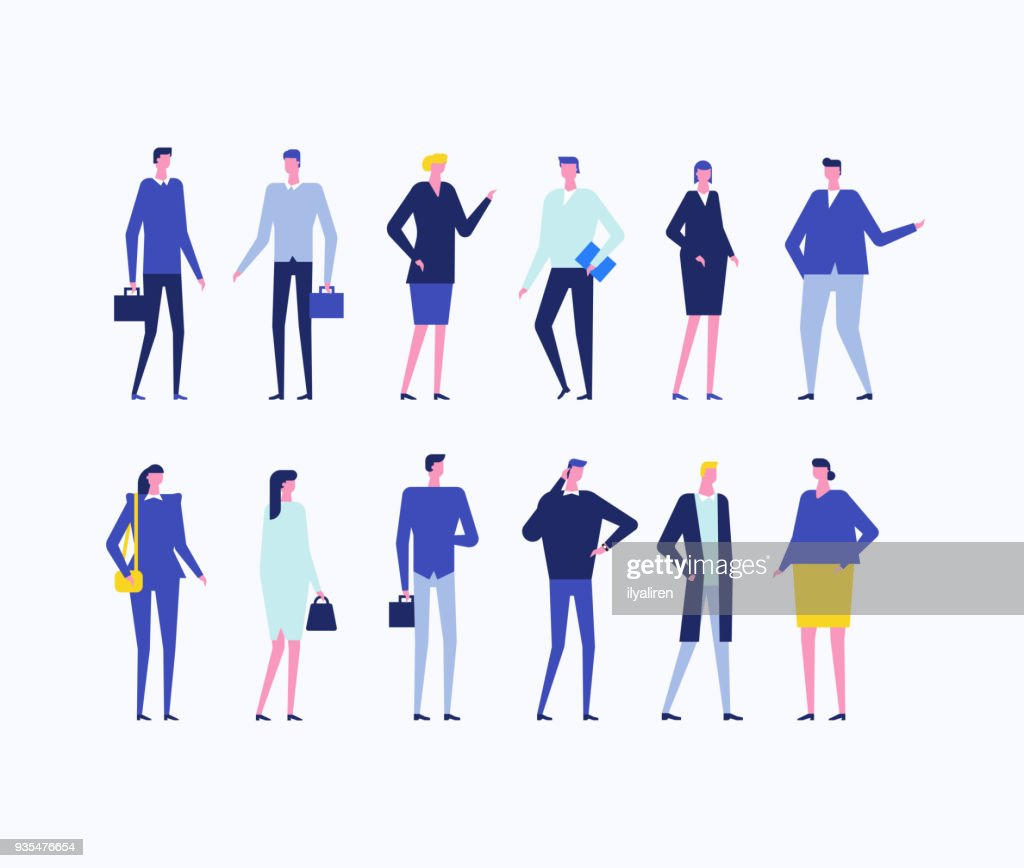 Office workers - flat design style set of isolated characters
