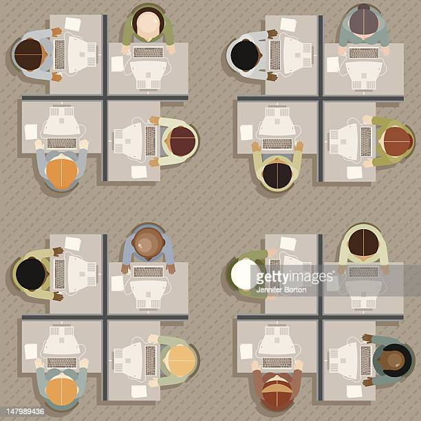 office workers: overhead view - office cubicle stock illustrations, clip art, cartoons, & icons