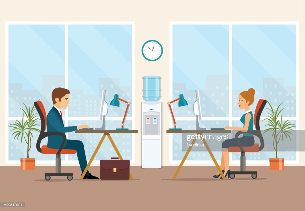 Office workers sitting at the table.  Flat vector illustration.