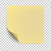 Office yellow paper sticker with curled the lower left corner and shadow isolated on transparent background. Template vector post note.