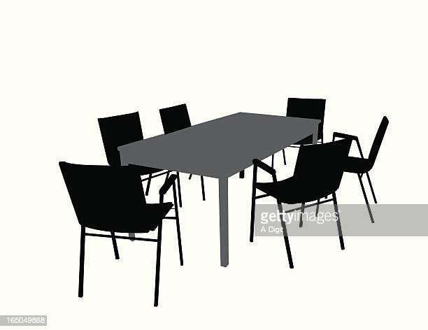 officetable chairs vector silhouette - conference table stock illustrations, clip art, cartoons, & icons