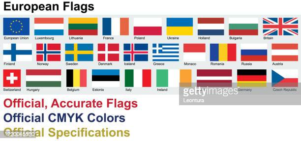 official european flags (official cmyk colors, official specifications) - all european flags stock illustrations