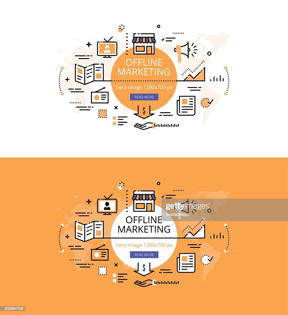 Offline Marketing. Flat color line hero images design concept