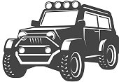 off-road car illustration isolated on white background. Design element for label, emblem, sign. Vector illustration