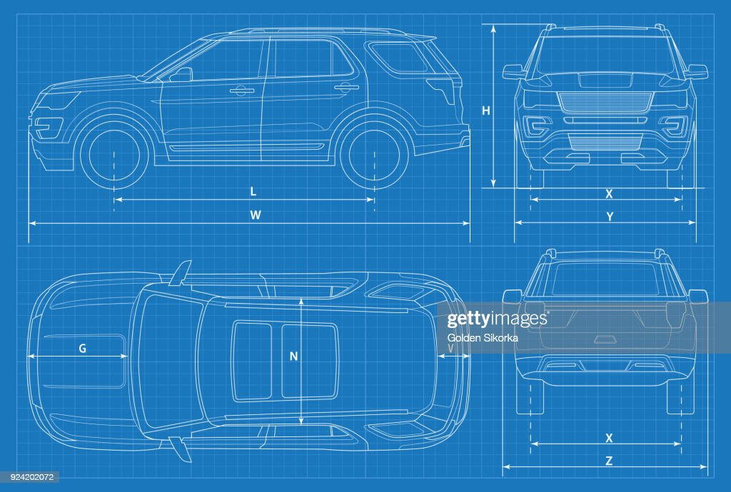 Off-road car schematic or suv car blueprint. Vector illustration. off road vehicle in outline. Business vehicle template vector. View front, rear, side, top