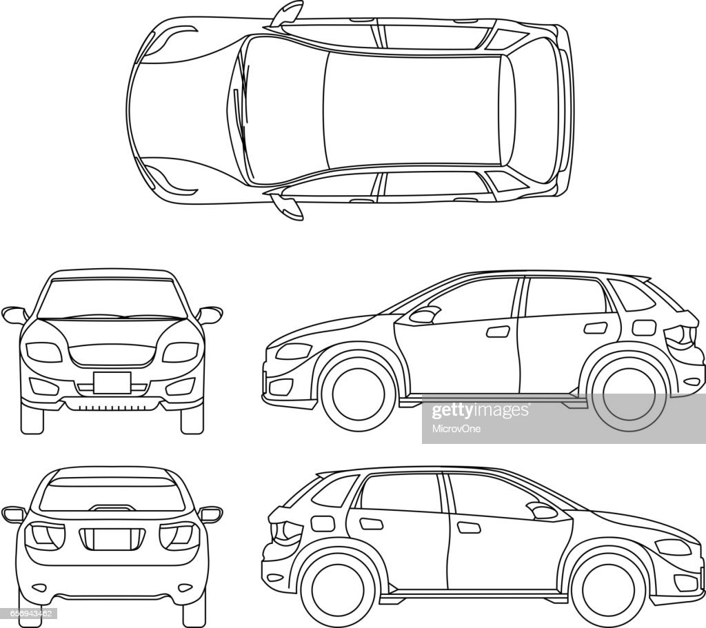 Offroad suv auto outline vector vehicle