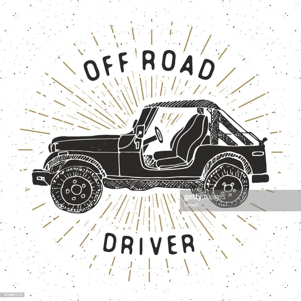 Offroad SUV car, vintage label, Hand drawn sketch, grunge textured retro badge, typography design t-shirt print, vector illustration
