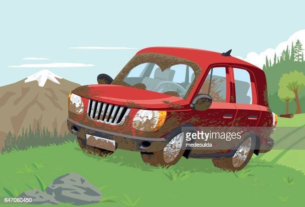 off-road - rally car racing stock illustrations, clip art, cartoons, & icons