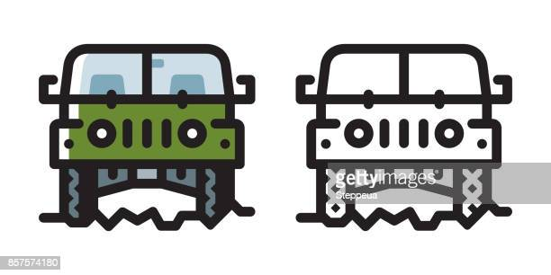 off-road vehicle icon - 4x4 stock illustrations, clip art, cartoons, & icons