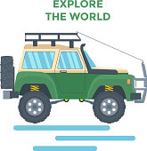 Offroad Vehicle with mud tire and roof rack. Vector