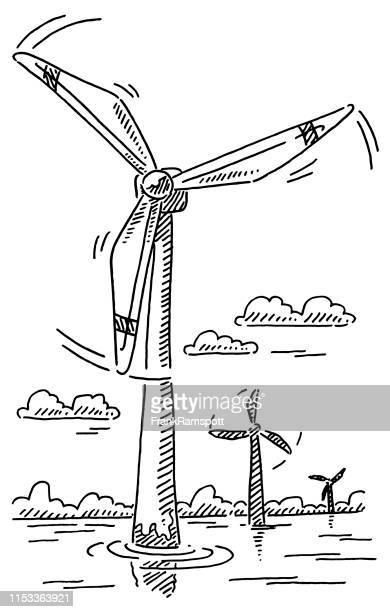 bildbanksillustrationer, clip art samt tecknat material och ikoner med offshore vindkraftverk alternativ energi ritning - vindkraft