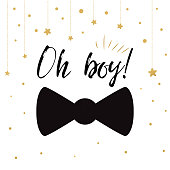 Oh boy cute baby shower with gold stars bow tie butterfly. Birthdauy invitation