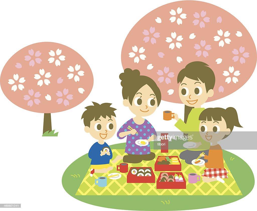 Ohanami, family,  cherry blossom party