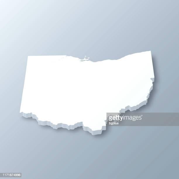 灰色の背景にオハイオ州の3dマップ - オハイオ州点のイラスト素材/クリップアート素材/マンガ素材/アイコン素材