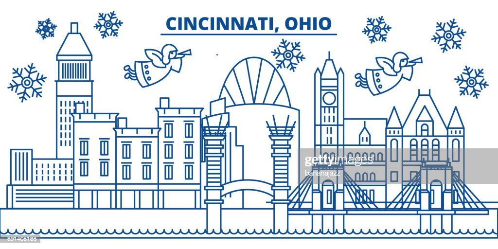 USA, Ohio, Cincinnati winter city skyline. Merry Christmas and Happy New Year decorated banner. Winter greeting card with snow and Santa Claus. Flat, line vector. Linear christmas illustration