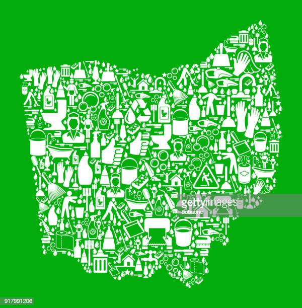 ohio cleaning and chores green vector icon pattern - scrubbing stock illustrations, clip art, cartoons, & icons