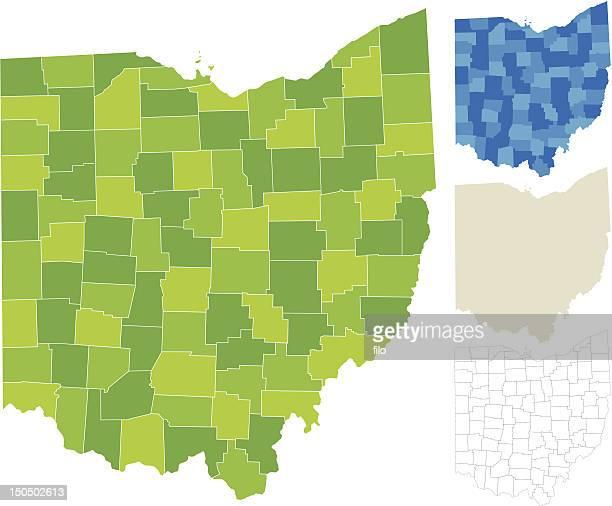 オハイオ州マップ - オハイオ州点のイラスト素材/クリップアート素材/マンガ素材/アイコン素材