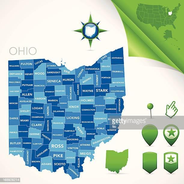 ohio county map - ohio stock illustrations
