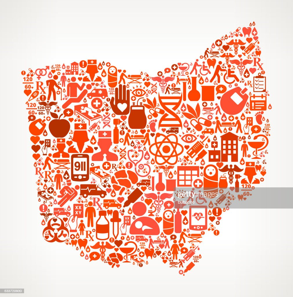 Ohio Icona rossa assistenza sanitaria e medica motivo : Illustrazione stock
