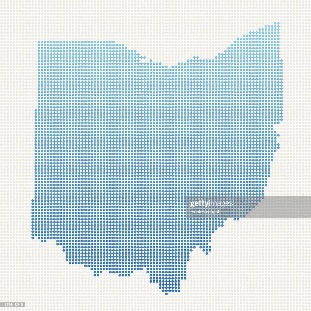 Ohio Karte Blau gepunktet : Stock-Illustration
