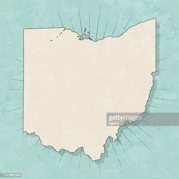 ohio map in retro vintage style - old textured paper - ohio stock illustrations