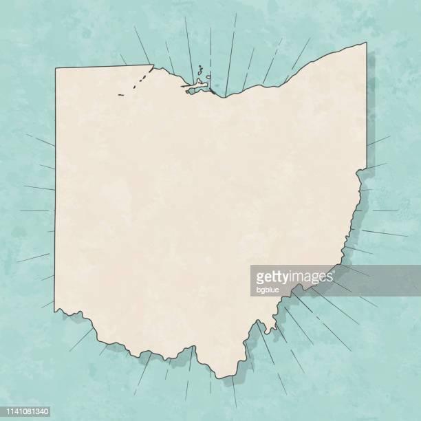 オハイオ州の地図レトロヴィンテージスタイル-古いテクスチャー紙 - オハイオ州点のイラスト素材/クリップアート素材/マンガ素材/アイコン素材