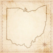 Ohio map in retro vintage style - old textured paper