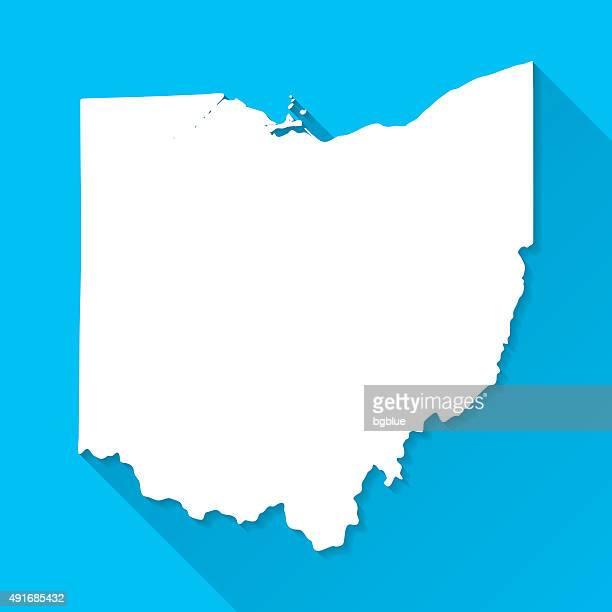 Ohio Map on Blue Background, Long Shadow, Flat Design