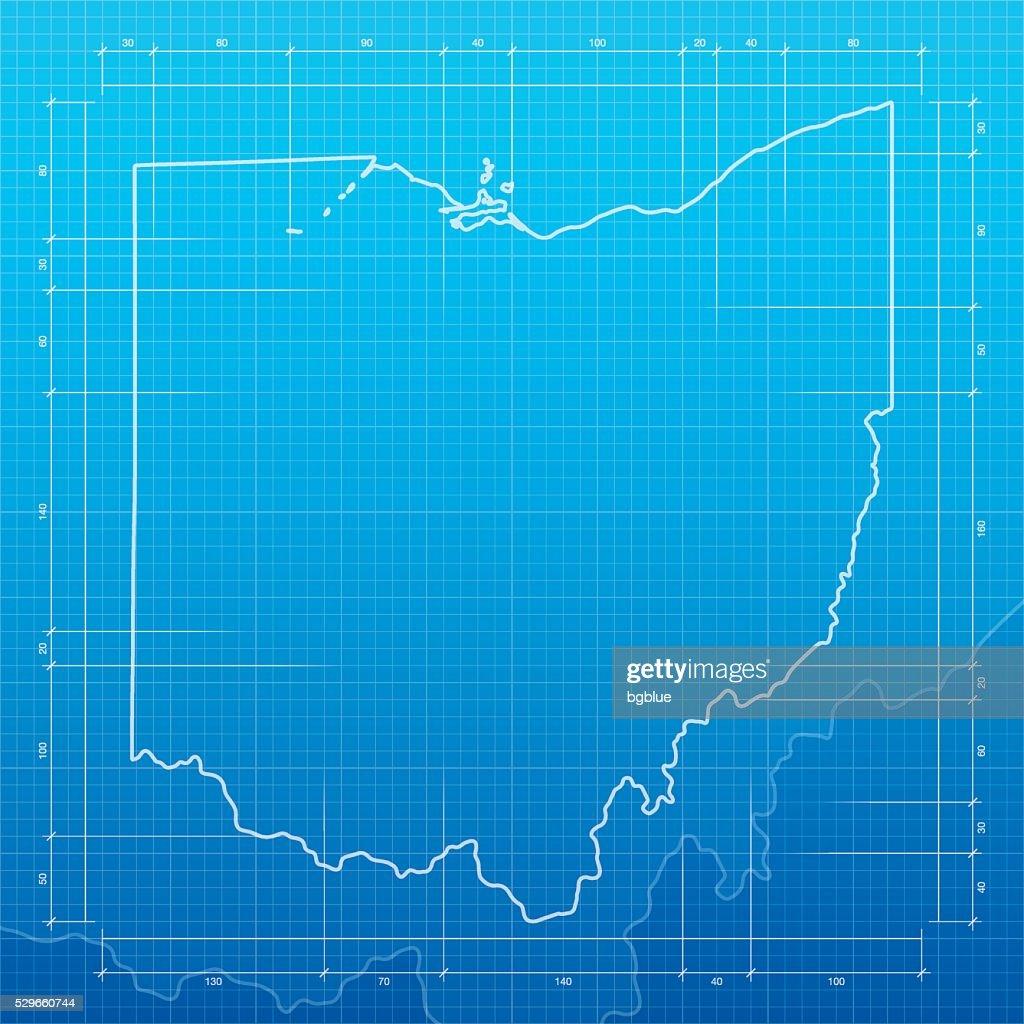 Ohio map on blueprint background vector art getty images ohio map on blueprint background vector art malvernweather Images