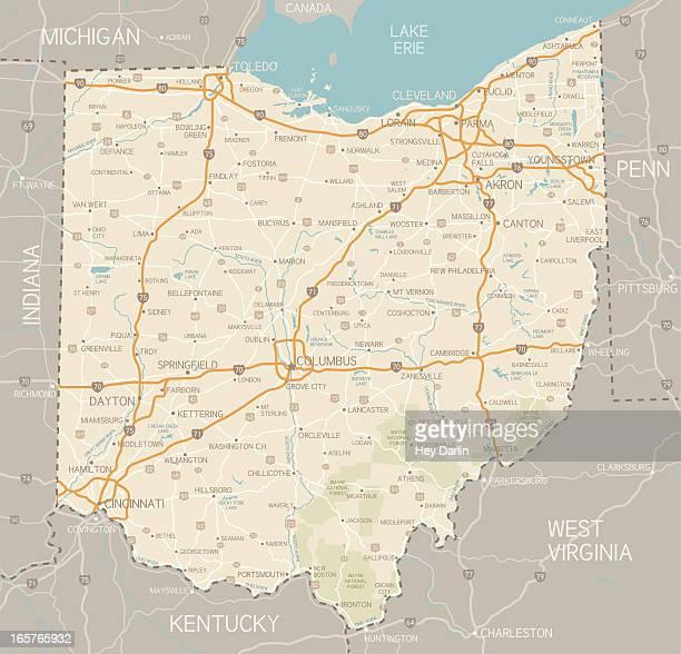ohio map - ohio stock illustrations